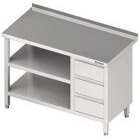 Stalgast Arbeitstisch mit Grund- und Zwischenboden + 3er Schubladenblock links g27959 kaufen