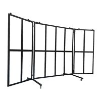 Mobiler Outdoor Windschutz mit 16 Glasflächen rollbar g44429 kaufen