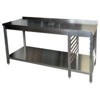 Edelstahl Arbeitstisch mit Grundboden & 7 Auflagewinkel links g20839 kaufen