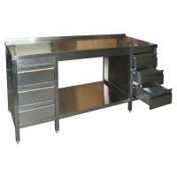 Edelstahl Arbeitstisch Variabel mit Grundboden & Schubladenblock links & rechts g20838 kaufen